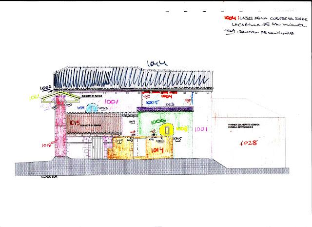Croquis estratigráfico inicial sobre los planos de obra de la Iglesia (Foto de Ondare Babesa, S.L.)